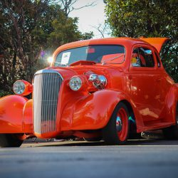 Customized red 1937 Chevy Coupe