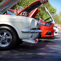 Customized white 1967 Ford Mustang
