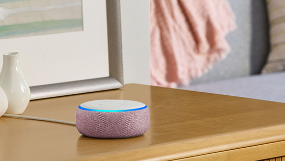 Amazon Echo Dot, Plum, on side table 560x315