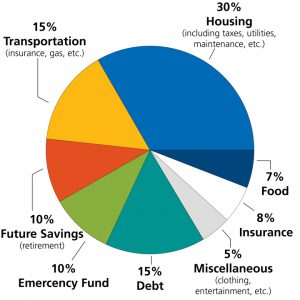 Pie chart showing a general budget in percentages.
