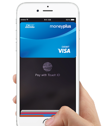 Apple Pay image of Apple phone with MoneyPlus Card