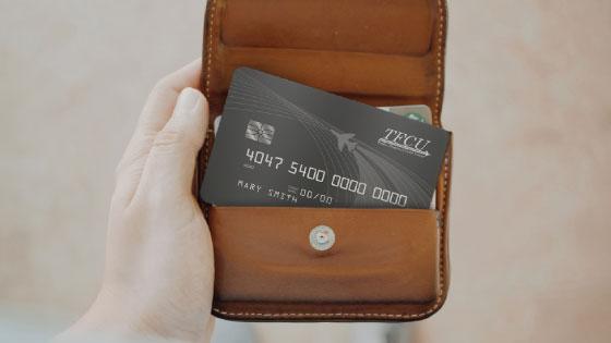 TFCU Credit Card in a leather purse