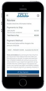 Home Branch 2019 Skip Pay Step 3 on mobile