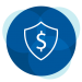 Dollar sign in shield icon