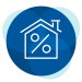 Percent inside house icon