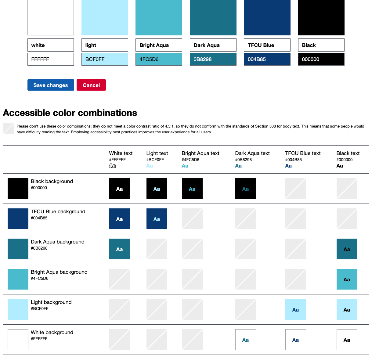 TFCU color guide