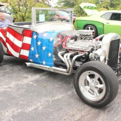 American flag themed classic roadster at the 2019 TFCU Miracle Car Show