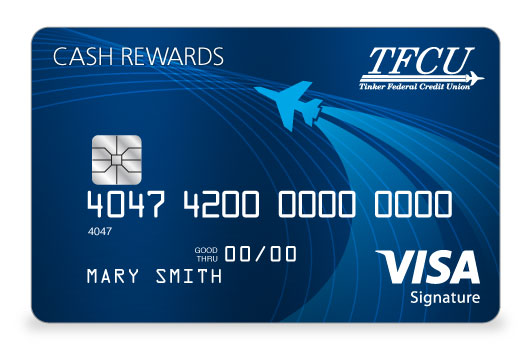 TFCU Signature Credit Card in brilliant dark blue