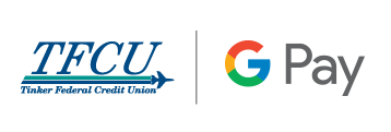 TFCU logo combined with Google Pay Logo